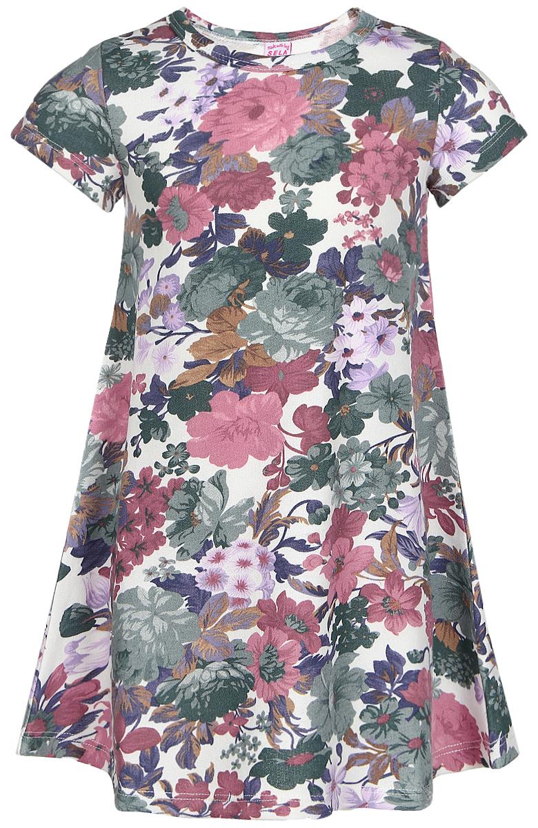 ПлатьеDks-517/138-7110Платье для девочки Sela выполнено из хлопка с добавлением полиэстера. Изнаночная сторона изделия отделана мелкими петельками. Модель средней длины с короткими рукавами и круглым вырезом горловины украшена красочным цветочным принтом.