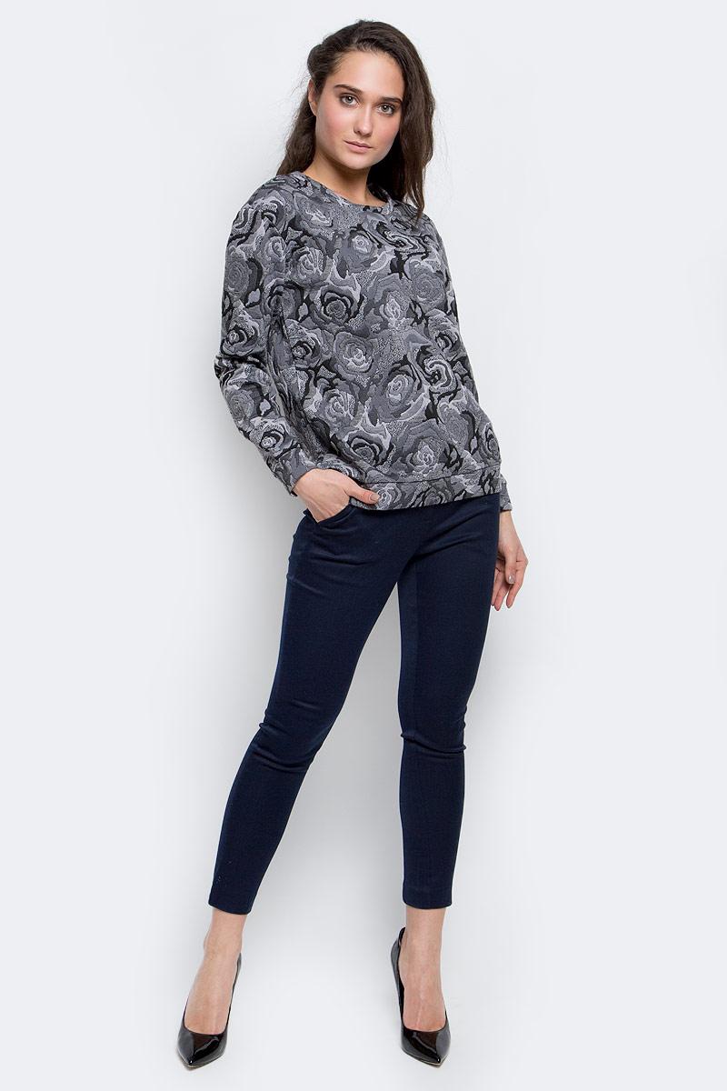 СвитшотSt-113/1091-6343Стильный женский свитшот Sela Collection изготовлен из полиэстера с добавлением эластана. Модель с круглым вырезом горловины и длинными рукавами оформлена цветочным принтом.
