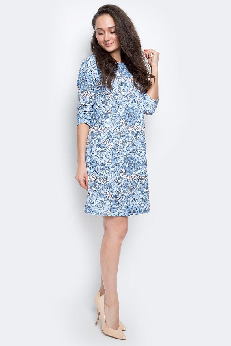 ПлатьеDK-117/1122-7110Женское платье выполнено из эластичного полиэстера, застегивается на спинке при помощи застежки-молнии. Модель с круглым вырезом горловины и рукавами 3/4.