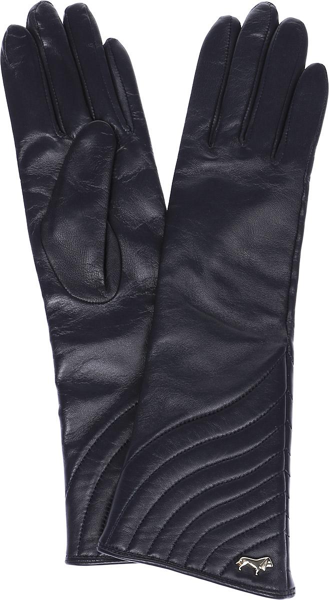 Перчатки женские Labbra, цвет: черный. LB-0308. Размер 6,5LB-0308Стильные женские перчатки Labbra выполнены из натуральной мягкой кожи. Удлиненная модель оформлена декоративной прострочкой и металлической пластинкой с логотипом бренда. Внутренняя поверхность выполнена из шерсти и акрила, которые обеспечат тепло и комфорт.