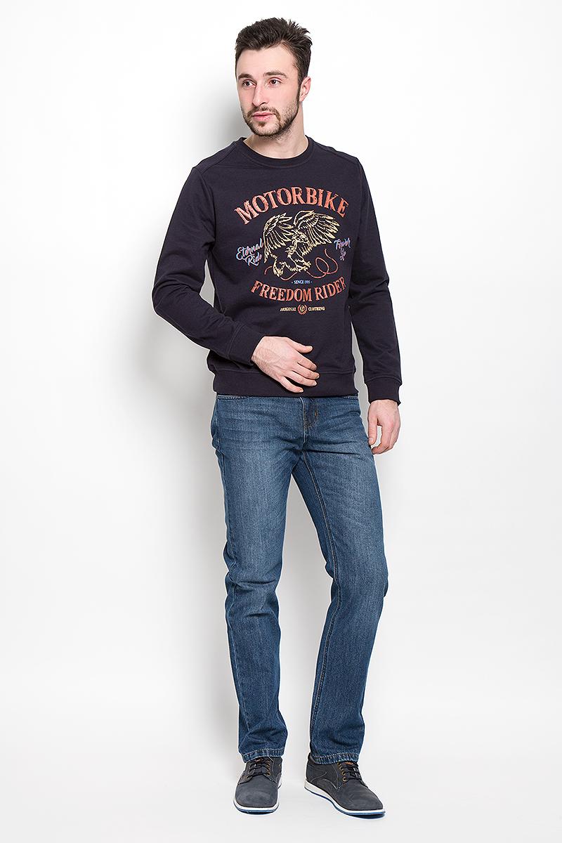 Джинсы мужские Sela Denim, цвет: синий джинс. PJ-235/1075-7150. Размер 36-34 (52-34)PJ-235/1075-7150Мужские джинсы Sela Denim выполнены из натурального хлопка с добавлением полиэстера.Прямая модель джинсов застегивается спереди на металлическую пуговицу и имеет ширинку на застежке-молнии. На поясе предусмотрены шлевки для ремня. Спереди расположены два втачных кармана и один маленький накладной, а сзади - два накладных кармана.