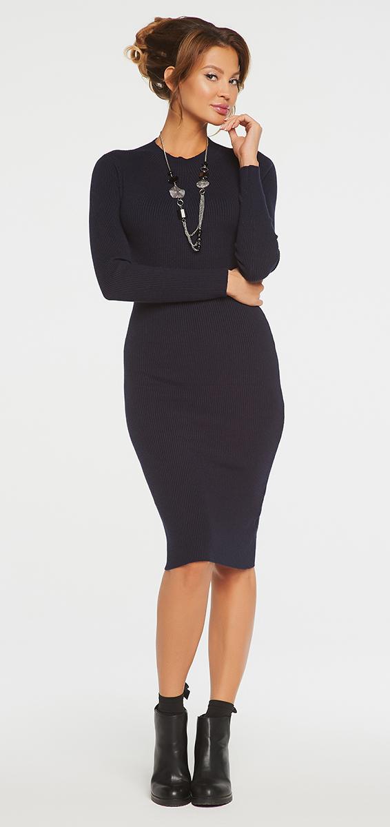 Платье Vittoria Vicci, цвет: темно-синий. VV16-1752. Размер M (46)VV16-1752Платье Vittoria Vicci выполнено из хлопка с добавлением вискозы, полиамида и эластана. Вязаная модель средней длины с длинными рукавами имеет воротник-стойку. Платье превосходно тянется.