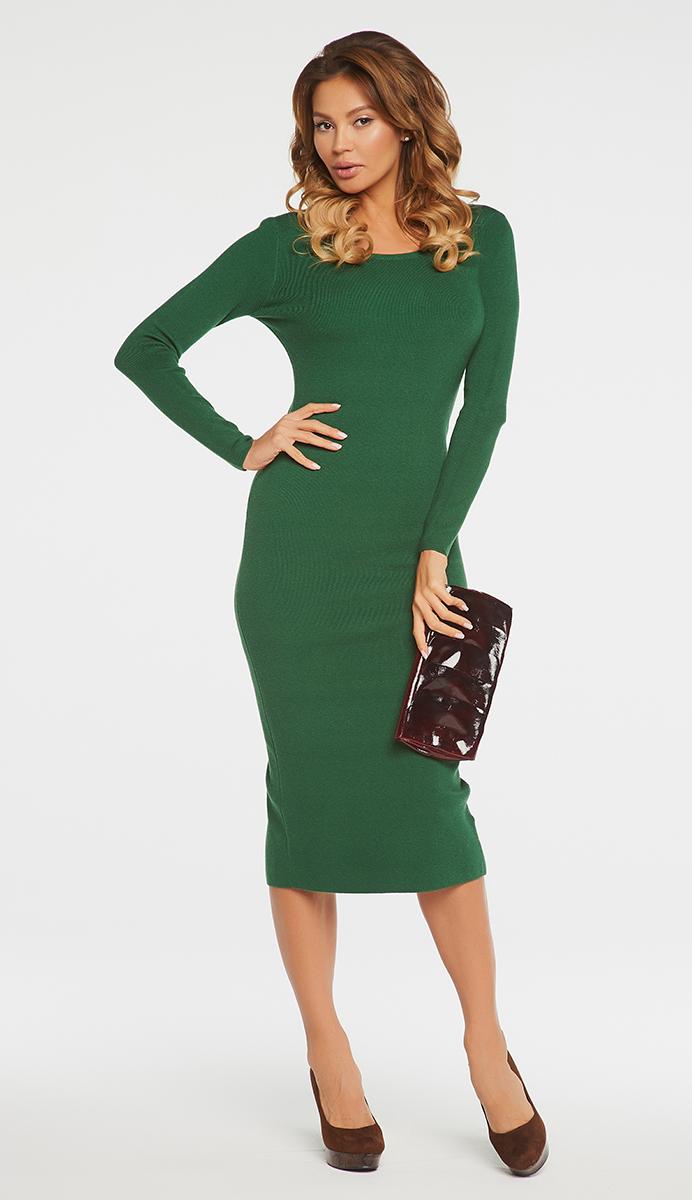 Платье Vittoria Vicci, цвет: зеленый. VV16- 111. Размер XS (40)VV16-111Платье Vittoria Vicci выполнено из хлопка с добавлением вискозы, полиамида и эластана. Вязаная удлиненная модель с длинными рукавами имеет круглый вырез горловины. Платье застегивается на металлическую застежку-молнию на спинке и имеет неглубокий разрез по низу сзади.