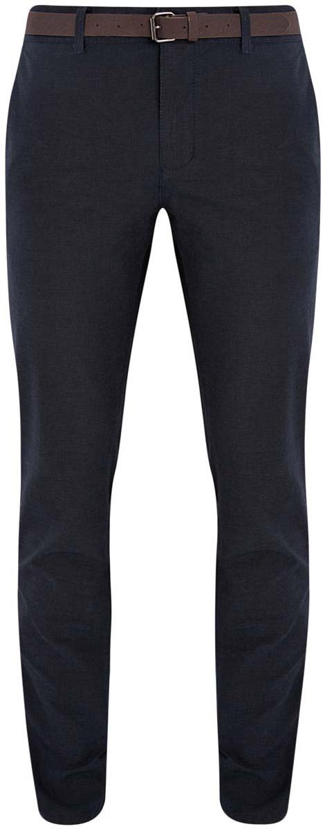 Брюки2L150081M/44369N/7975OМужские брюки oodji Lab выполнены из натурального хлопка. Модель-чинос со стандартной посадкой застегивается на застежку-молнию и пуговицу. Пояс имеет шлевки для ремня. Спереди брюки дополнены двумя втачными карманами, сзади - двумя прорезными карманами на застежках пуговицах. В комплект входит ремень из искусственной кожи.