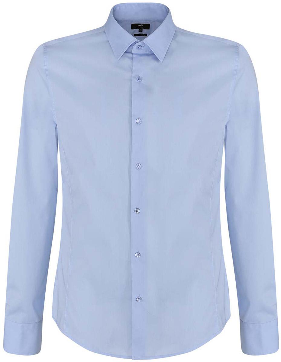 Рубашка3B140000M/34146N/8000NБазовая мужская рубашка приталенного силуэта (extra slim) oodji Basic изготовлена из хлопка с добавлением полиамида и эластана. Она мягкая и приятная на ощупь, не сковывает движения и позволяет коже дышать, обеспечивая наибольший комфорт. Рубашка с отложным воротником и длинными рукавами застегивается на пуговицы. Манжеты рукавов также застегиваются на пуговицы.