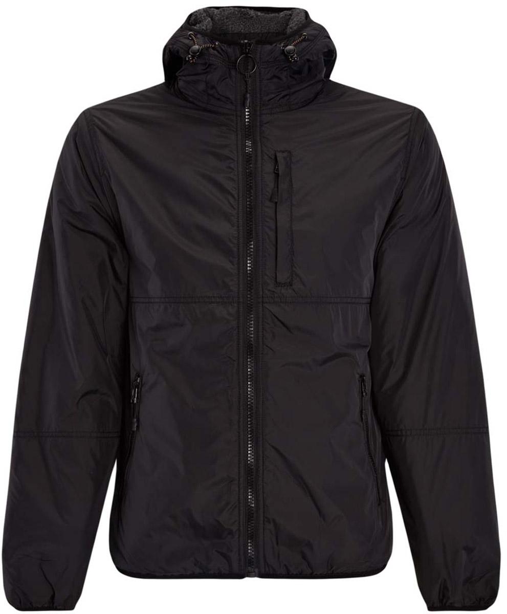 Куртка1L512013M/44334N/2900NМужская куртка с подкладкой oodji Lab изготовлена из полиамида. В качестве подкладки используется искусственный мех. Модель застегивается на пластиковую молнию. Капюшон дополнен шнурком-утяжкой со стопперами. Спереди расположены три врезных кармана на застежках-молниях, с внутренней стороны - прорезной карман на застежке-молнии. Низ куртки, рукавов и капюшон оснащены тонкими эластичными резинками.