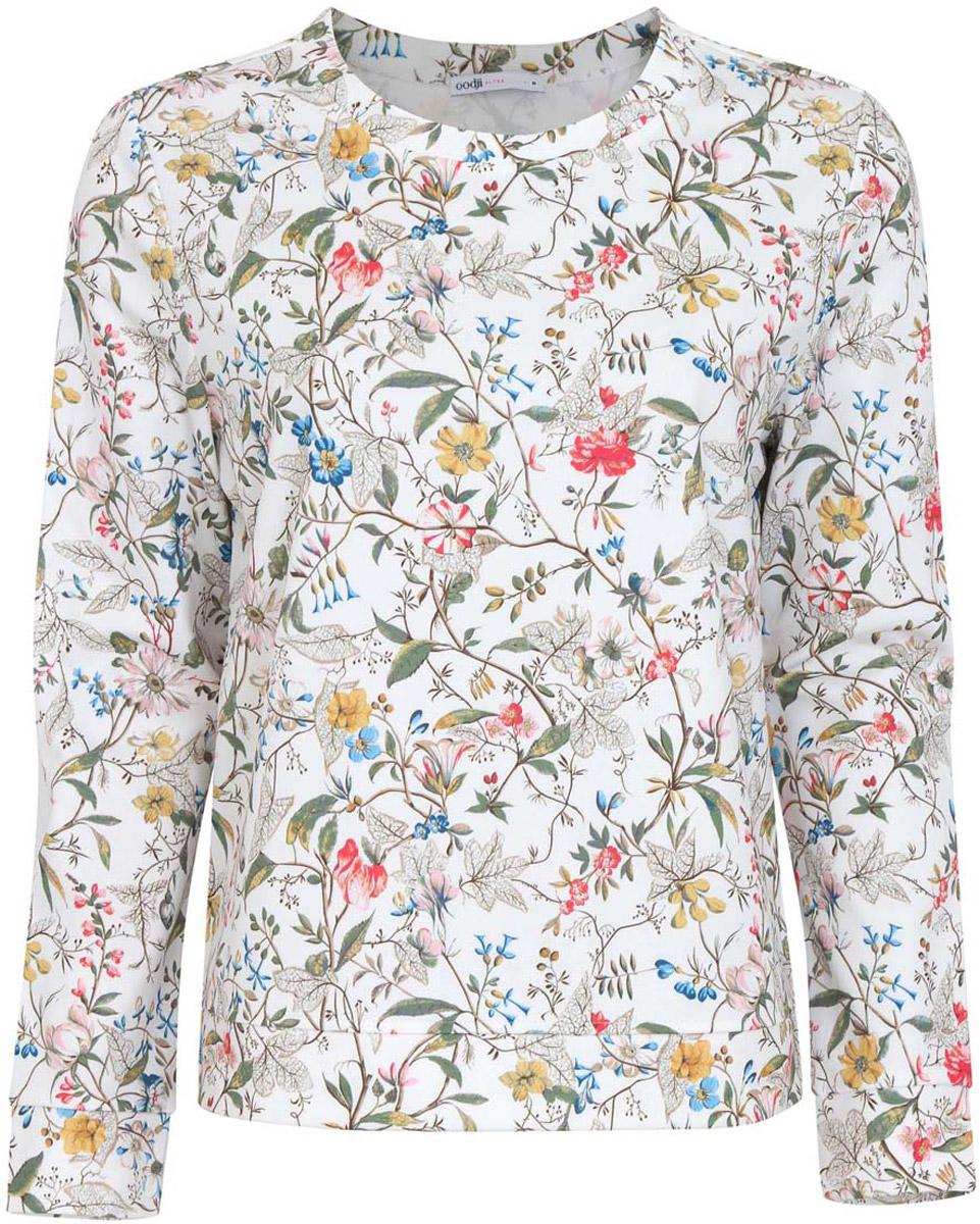 Джемпер24801006-2/33469/7962FЖенский джемпер oodji Collection исполнен из принтованной плотной ткани. Имеет длинные рукава и круглый вырез горловины.