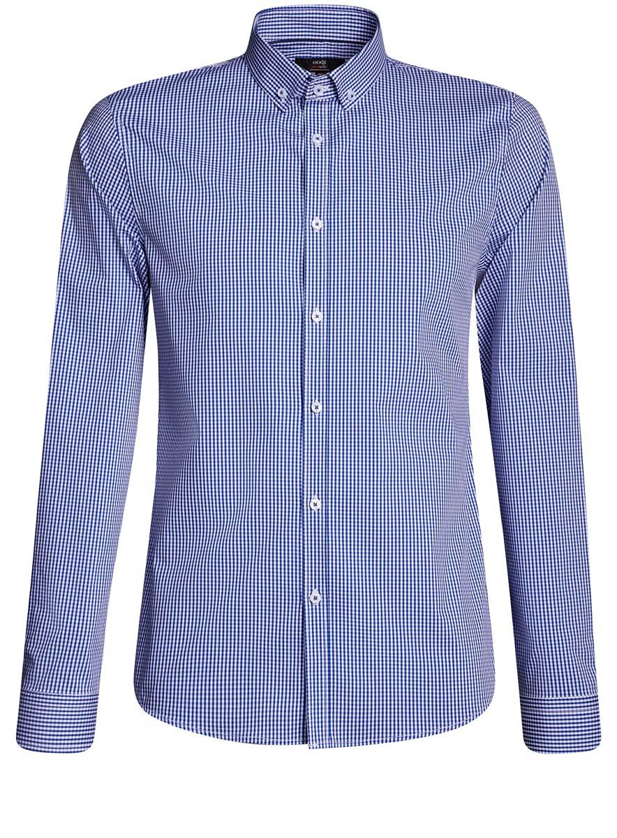 Рубашка3B140003M/39767N/6210CМужская рубашка oodji Basic выполнена из хлопка с добавлением полиамида и эластана. Рубашка с длинными рукавами и отложным воротником застегивается на пуговицы спереди. Манжеты рукавов также застегиваются на пуговицы. Рубашка оформлена принтом в мелкую клетку.