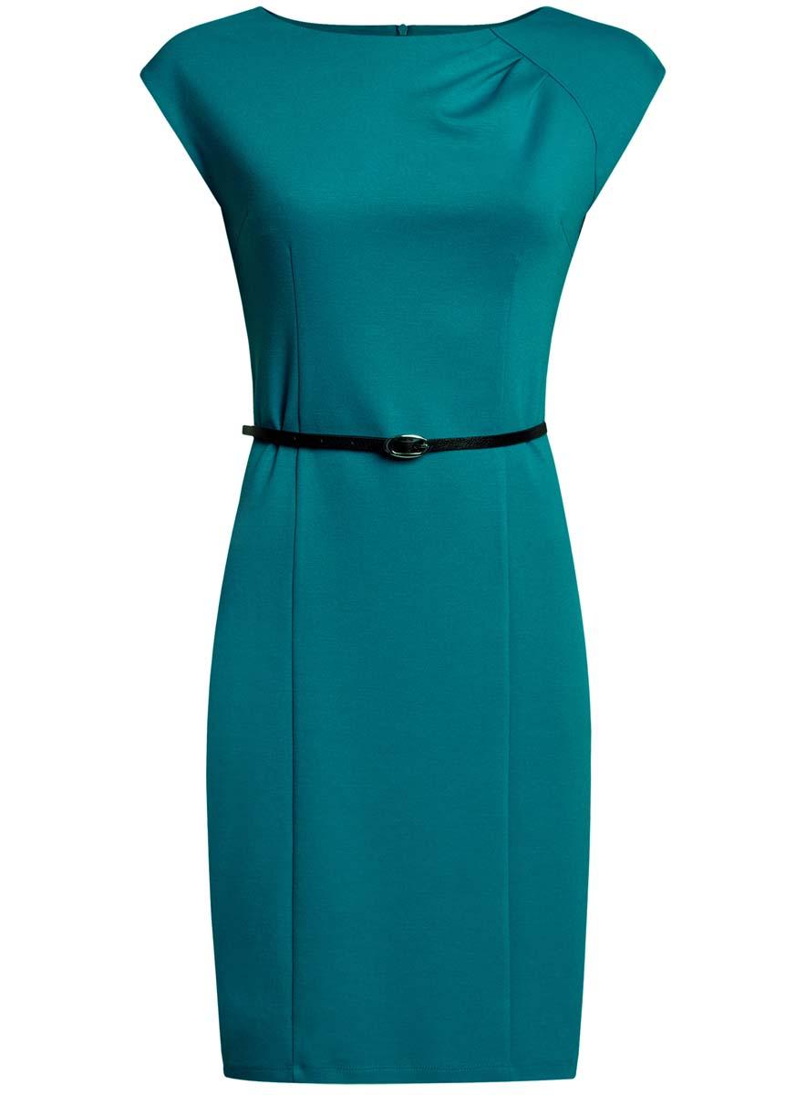 Платье oodji Collection, цвет: бирюзовый. 24008306/35477/7300N. Размер L (48-170)24008306/35477/7300NПриталенное платье oodji Collection, выгодно подчеркивающее достоинства фигуры, выполнено из качественного трикотажа. Модель средней длины с круглымвырезом горловины и короткимирукавами застегивается на скрытую застежку-молнию на спинке.В комплект с платьемвходит узкий ремень из искусственной кожи с металлической пряжкой.