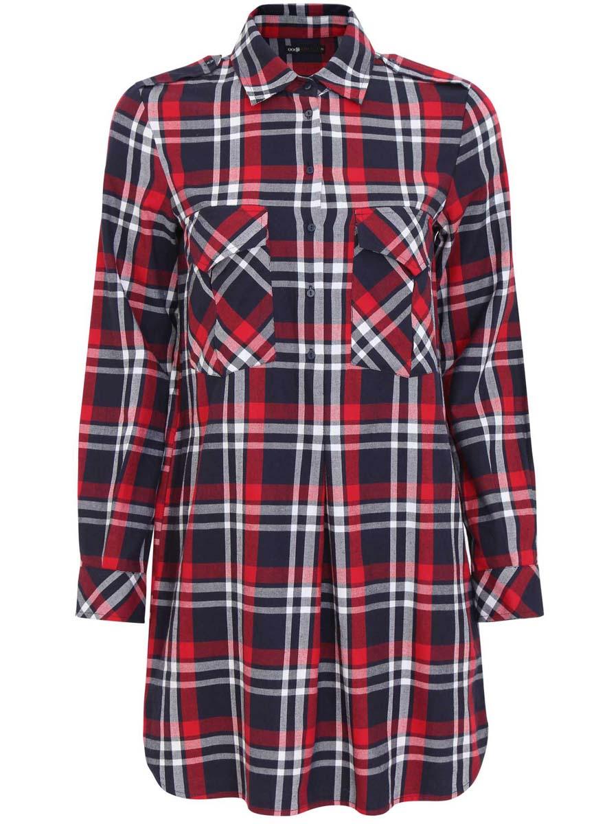 Платье11911004/45252/7945CПлатье-рубашка oodji Ultra выполнено из натурального хлопка с принтом в крупную клетку. Модель с отложным воротничком и закругленными разрезами застегивается на пуговицы. По бокам подола имеются два врезных кармана, на груди - два накладных кармана под клапанами. Манжеты рукавов также застегиваются на пуговицы.