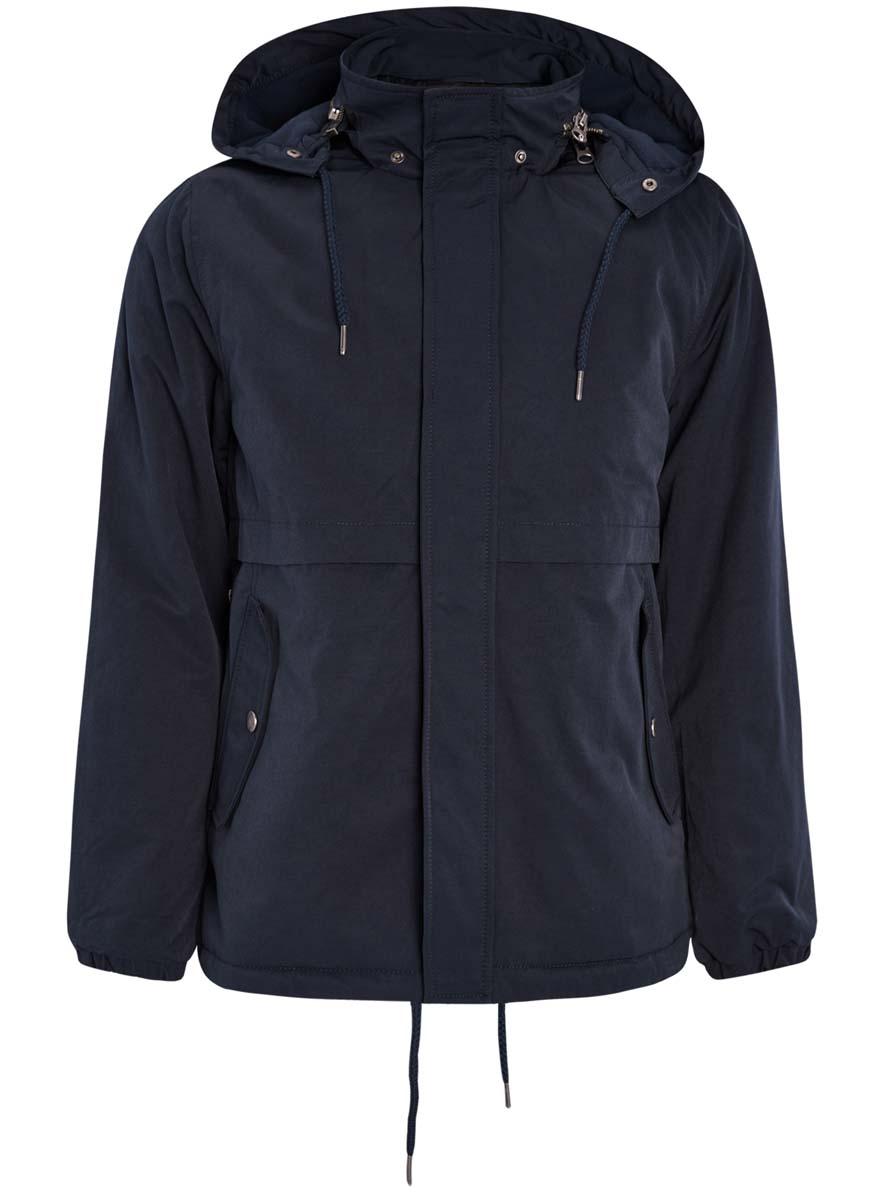 Куртка1L412022M/39827N/7900NМужская куртка oodji Lab выполнена из высококачественного материала. Модель с капюшоном застегивается на застежку-молнию и дополнительно ветрозащитным клапаном на кнопки. Капюшон дополнен по краю шнурком-кулиской. Спереди расположено два прорезных кармана.