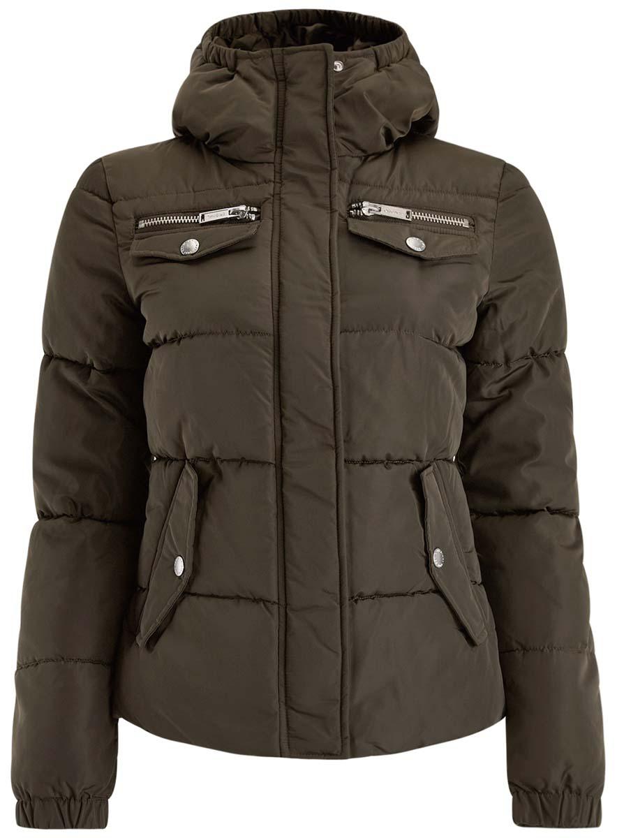 Куртка10203053/43802/2900NЖенская куртка oodji Ultra выполнена из высококачественного материала, в качестве подкладки используется полиэстер. Утеплитель - синтепон. Модель с воротником-стойкой застегивается на застежку-молнию и дополнительно ветрозащитным клапаном на кнопки. Спереди расположено множество карманов.