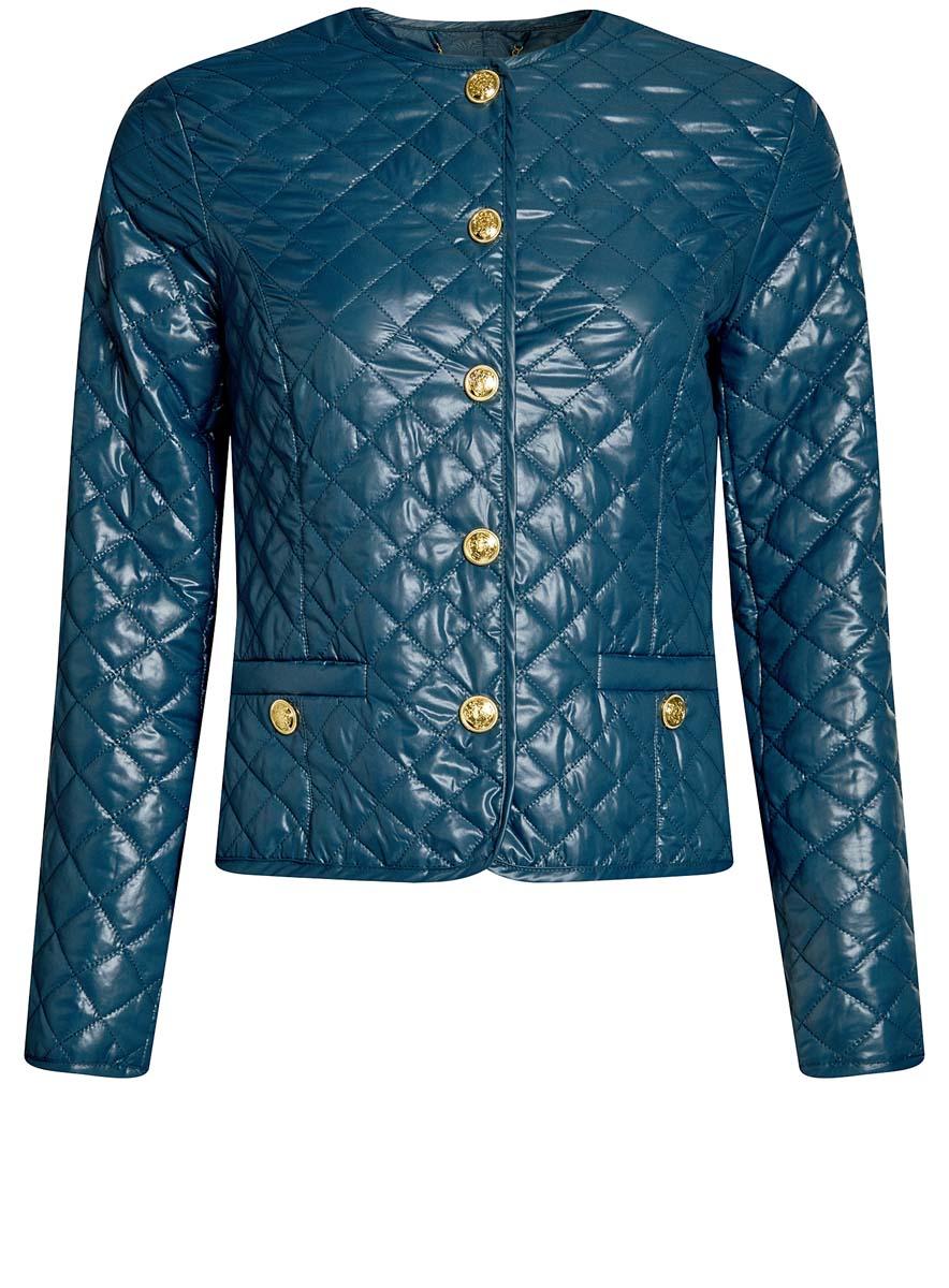 Куртка10200077-2/46455/2900NСтеганая куртка oodji Ultra утеплена тонким слоем синтепона. Модель с круглым вырезом горловины застегивается на кнопки. Куртка прекрасно смотрится и с платьем и с джинсами, что делает ее незаменимой для городских будней. Модель дополнена двумя карманами.