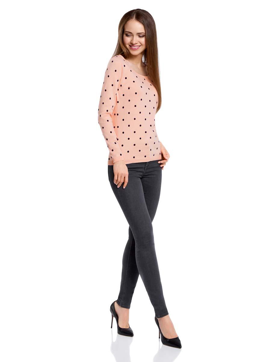 Джемпер женский oodji Ultra, цвет: светло-розовый, черный. 63812575/46037/4029D. Размер XXS (40)63812575/46037/4029DУютный женский джемпер в горошек с круглым вырезом горловины и длинными рукавами выполнен из натурального хлопка.