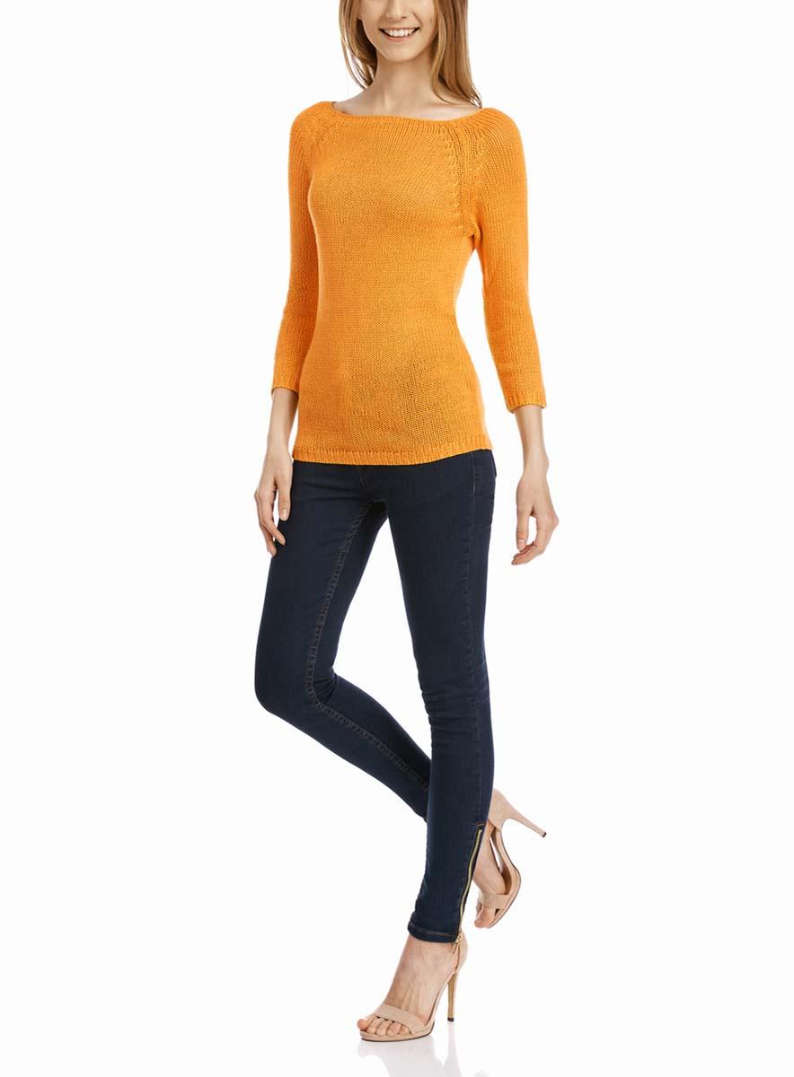 Джемпер женский oodji Ultra, цвет: оранжевый. 63803046-3B/31326/5500N. Размер XL (50)63803046-3B/31326/5500NУютный женский джемпер с вырезом горловины лодочка и рукавами-реглан длиной 3/4 выполнен из акриловой пряжи.