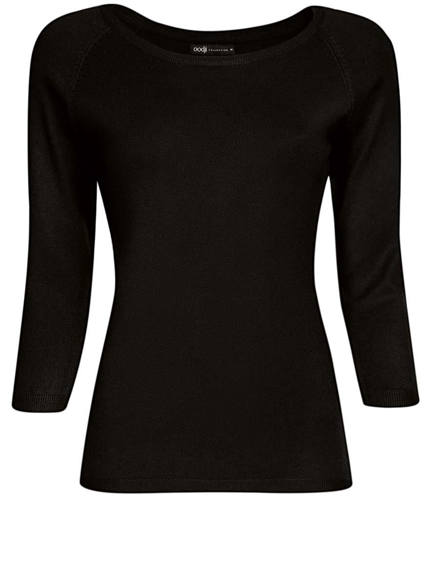 Джемпер женский oodji Collection, цвет: черный. 73812552-2B/24525/2900N. Размер L (48)73812552-2B/24525/2900NУютный женский джемпер с круглым вырезом горловины и рукавами-реглан длиной 3/4 выполнен из вискозного материала.