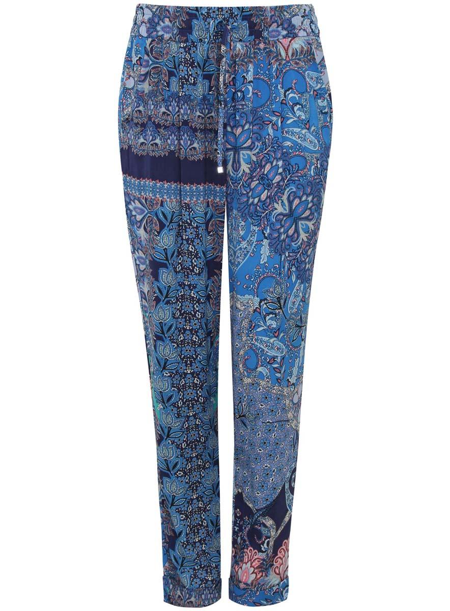 Брюки21705061-3/19613/7970EЖенские свободные брюки oodji Collection выполнены из высококачественного материала. Модель стандартной посадки. Пояс дополнен эластичной резинкой и кулиской.