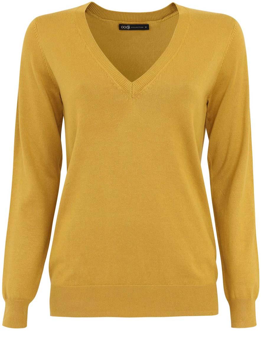 Пуловер73812290-6/24525/6E00NЖенский пуловер oodji Collection изготовлен из вискозы с добавлением полиамида. Модель имеет V-образный вырез горловины и длинные рукава. Вырез горловины, манжеты и низ изделия выполнены резинкой.