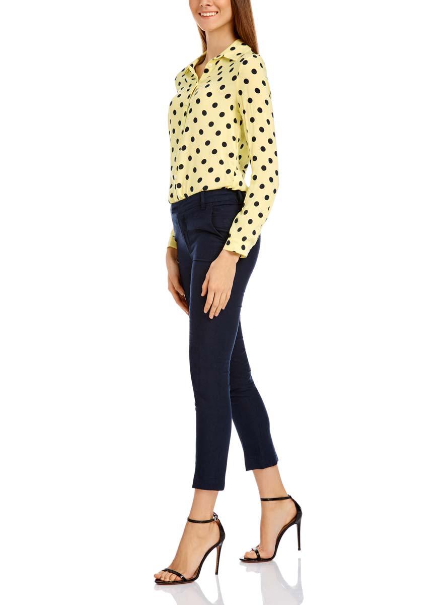 Блузка женская oodji Ultra, цвет: светло-желтый, черный. 11411098-3/24681/5029D. Размер 34-170 (40-170)11411098-3/24681/5029DЖенская блузка oodji Ultra выполнена из 100% вискозы. Модель с отложным воротником и длинными рукавами застегивается на пуговицы. Оформлено изделие принтом в горох.