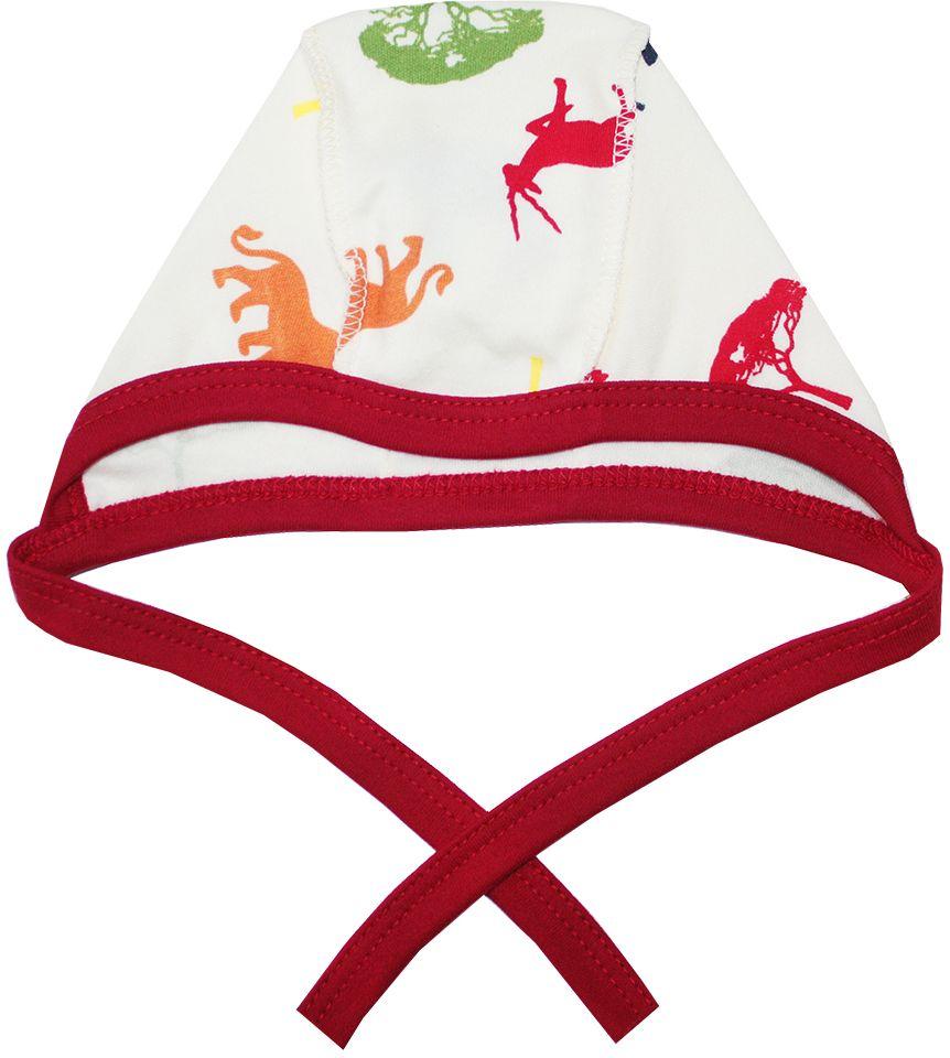Чепчик КотМарКот Африка, цвет: красный, бежевый. 8276. Размер 448276Мягкий чепчик КотМарКот, изготовленный из натурального хлопка, не раздражает нежную кожу ребенка и хорошо вентилируется, защищая еще не заросший родничок младенца.Чепчик выполнен швами наружу, что обеспечивает максимальный комфорт ребенку, а завязки позволяют регулировать обхват. Чепчик оформлен принтом в виде силуэтов африканских животных.