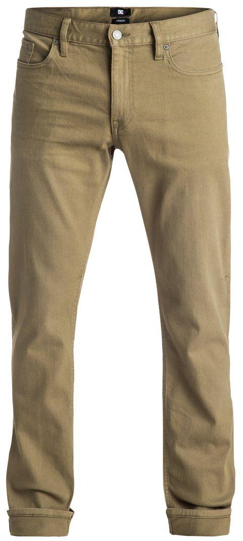 Джинсы мужские DC Shoes, цвет: хаки. EDYDP03300-TPD0. Размер 30 (46)EDYDP03300-TPD0Мужские джинсы DC Shoes изготовлены из удобного эластичного денима. Модель имеет крой Easy Straight - стандартные по крою бедра и прямые штанины. Застегивается на молнию и пуговицу в поясе. Модель имеет кокетку наоборот и стандартный пятикарманный крой: два вшитых кармана и один маленький накладной кармашек спереди, а также два накладных кармана сзади. Пояс оснащен шлевками для ремня, также имеется кожаная нашивка с перфорацией на поясе сзади. В районе коленей и ширинки предусмотрены строчки-закрепки. Вдоль изнанки пояса имеется черно-белая декоративная тесьма.