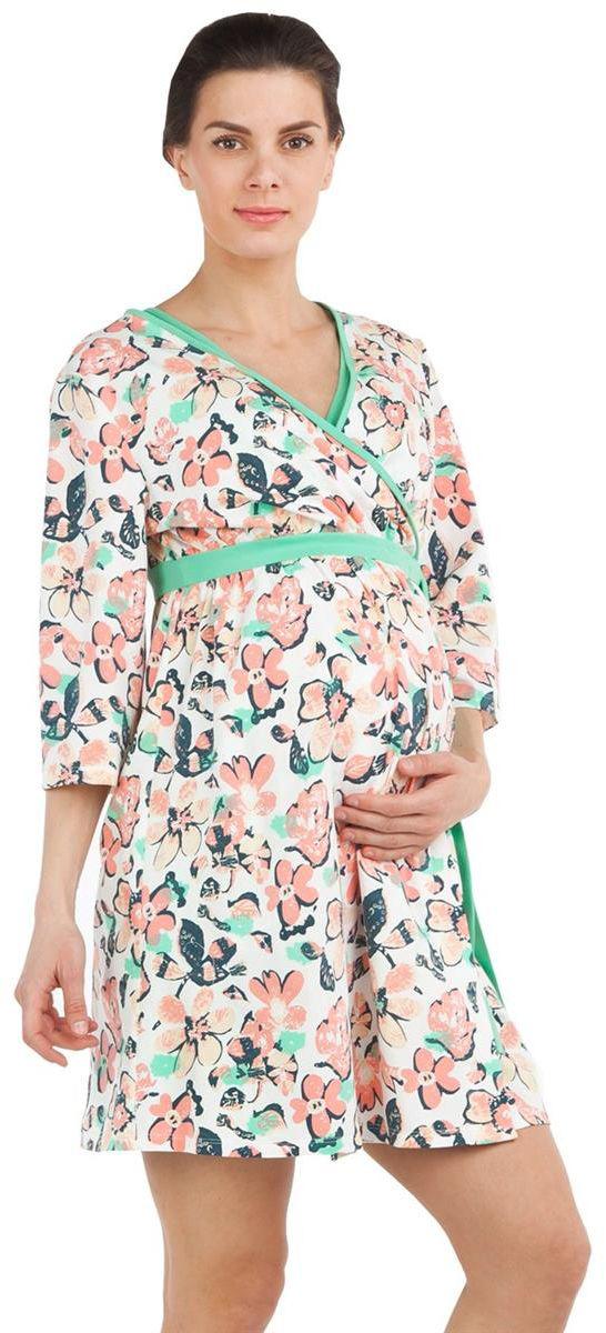 Халат7001702174Халат для беременных Mammy Size выполнен из качественного материала, что позволяет изделию не деформироваться при носке. Оформлена модель цветочным принтом.