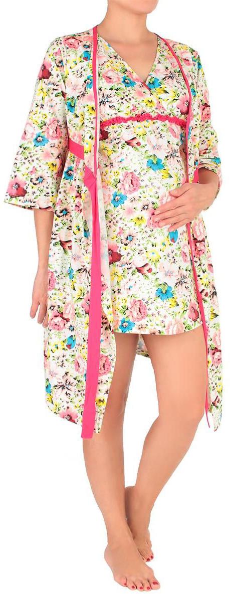 Костюм домашний для беременных Mammy Size: халат, сорочка, цвет: белый, розовый. 7001692177. Размер 487001692177Незаменимая вещь в гардеробе каждой женщины - легкий, удобный домашний халат и ночнушка нежного цвета с цветочными вкраплениями.