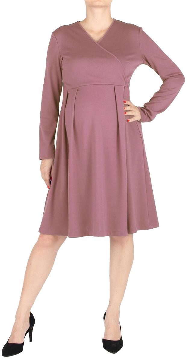 Платье для беременных Mammy Size, цвет: розовый. 5207522177. Размер 465207522177Элегантное платье для беременных, с расклешенной юбкой, длиной до колен. Рукава длинные. Линия талии завышена, на юбке мягкие складки. Лиф платья с асимметричным запахом. Спинка со средним швом, с потайной застежкой-молнией.