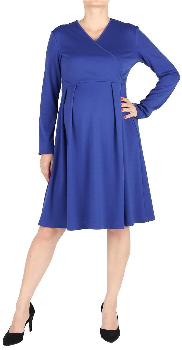 Платье5207522173Элегантное платье для беременных, с расклешенной юбкой, длиной до колен. Рукава длинные. Линия талии завышена, на юбке мягкие складки. Лиф платья с асимметричным запахом. Спинка со средним швом, с потайной застежкой-молнией.