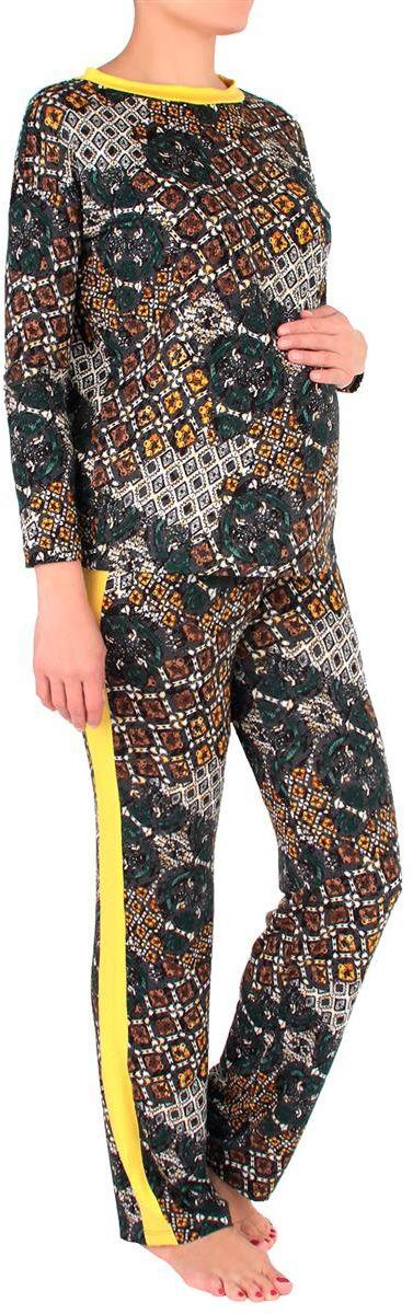 Костюм домашний для беременных Mammy Size: лонгслив, брюки, цвет: темно-серый, желтый. 1168692176. Размер 461168692176Удобный и красивый домашний костюм для беременных Mammy Size, изготовленный из вискозы и эластана, состоит из лонгслива и брюк. Лонгслив с длинными рукавами и круглым вырезом горловины. Универсальность этого комплекта заключается в том, что его можно носить как во время беременности, так и после рождения ребенка. Резинка на брюках устроена так, что во время беременности она находится под животом.