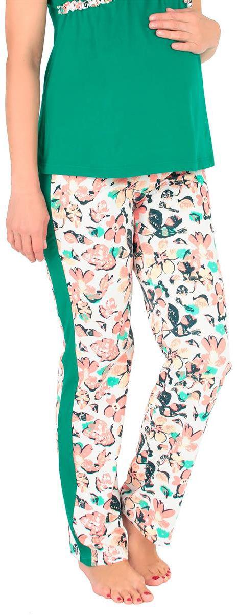 Брюки для дома1104112174Удобные домашние брюки Mammy Size выполнены их хлопка и эластана. Модель с ярким цветочным принтом