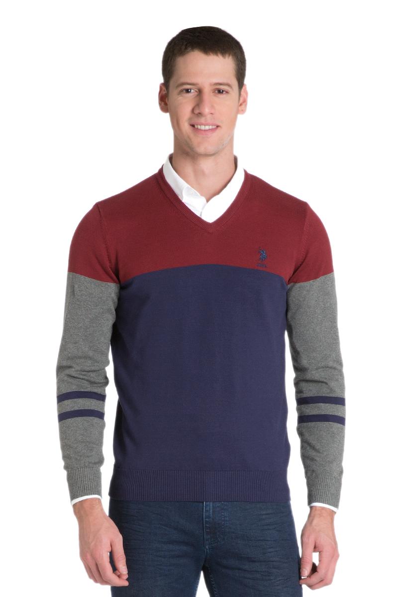ПуловерG081GL0TK0ALEXIS_KR0215Мужской пуловер с длинными рукавами и V-образным вырезом горловины выполнен из натурального хлопка.