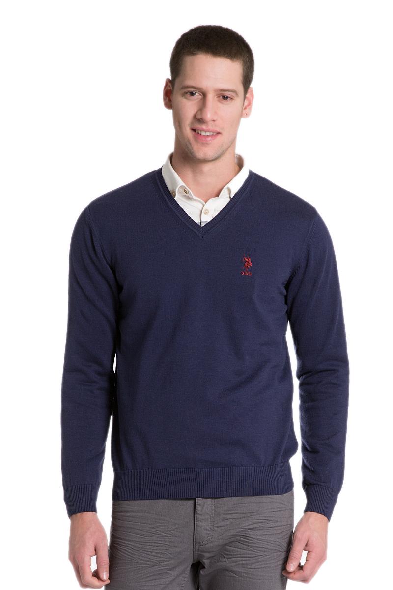 ПуловерG081GL0TK0GTD02SK6_VR015Мужской пуловер с длинными рукавами и V-образным вырезом горловины выполнен из натурального хлопка.