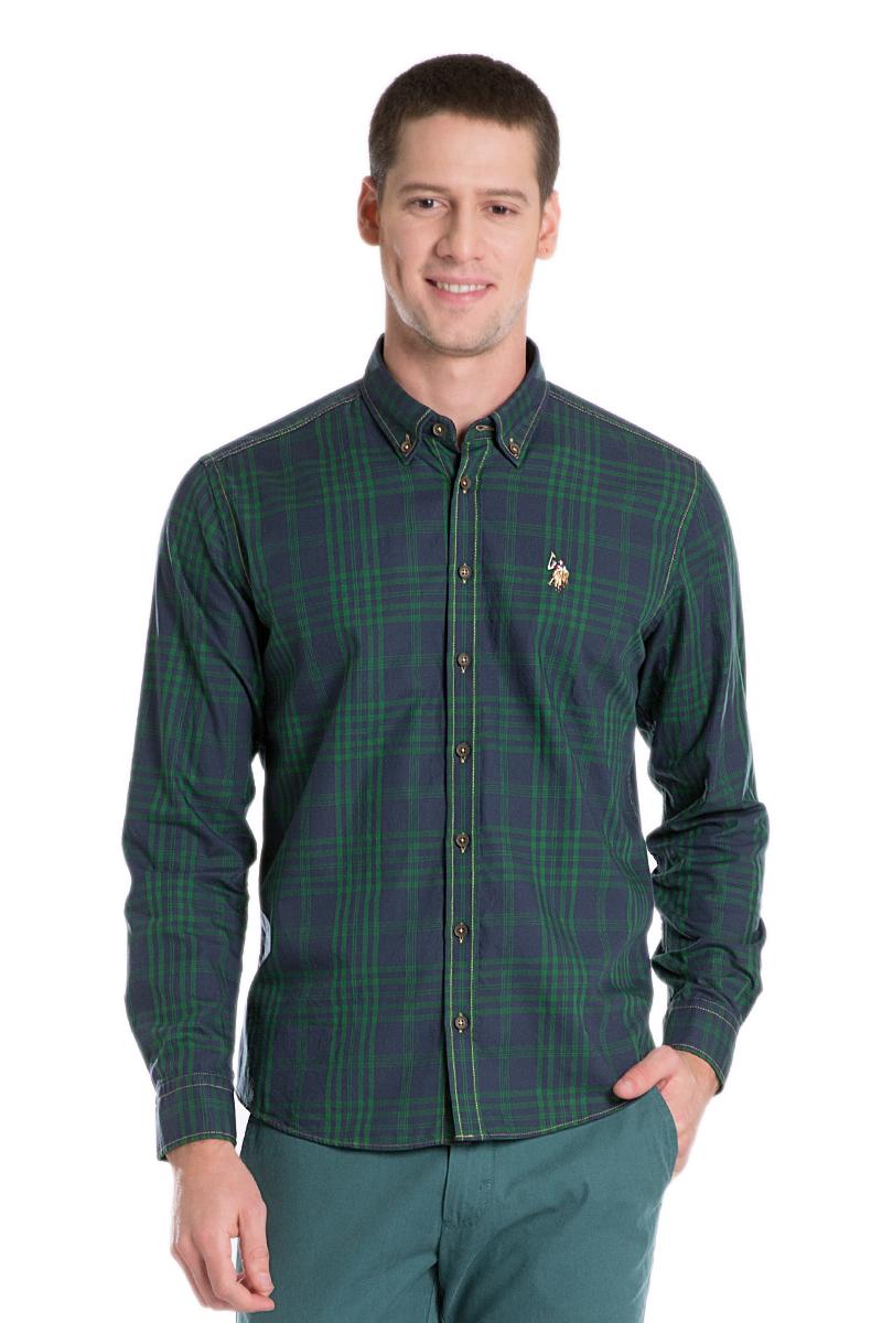 Рубашка мужская U.S. Polo Assn., цвет: темно-синий, зеленый. G081GL004ACTOELMENTE-GL_VR033. Размер L (52)G081GL004ACTOELMENTE-GL_VR033Стильная мужская рубашка с длинными рукавами и отложным классическим воротником выполнена из натурального хлопка. Модель застегивается на пуговицы.