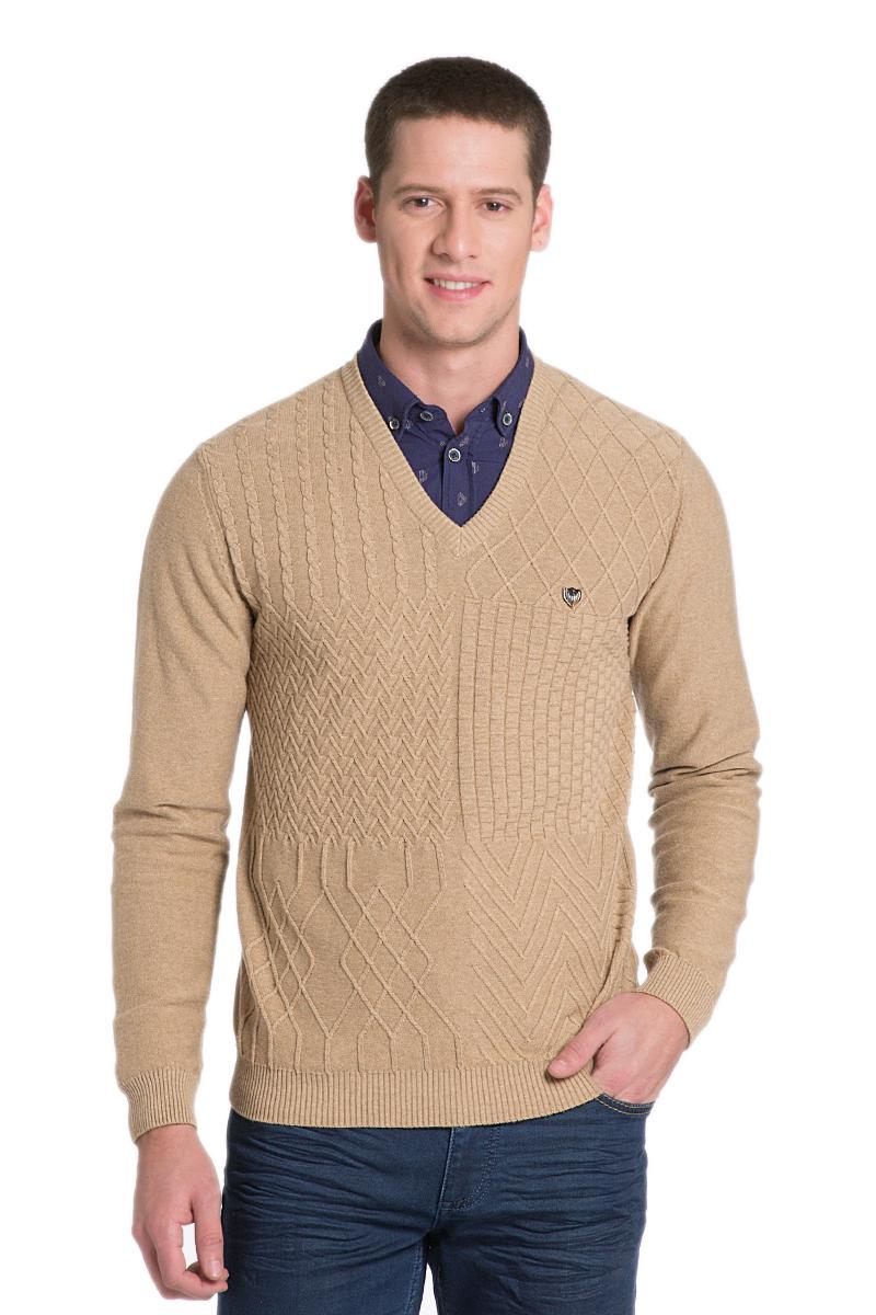 ПуловерG081SZ0TK0DAVE_VR015Мужской пуловер с длинными рукавами и V-образным вырезом горловины выполнен из натурального хлопка.