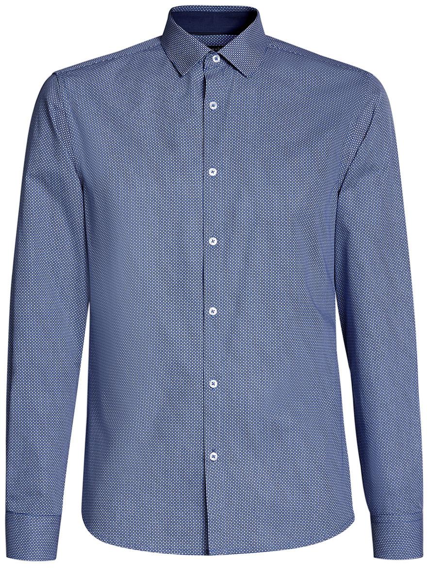 Рубашка мужская oodji Lab, цвет: темно-синий, синий. 3L110241M/19370N/7975G. Размер 41-182 (50-182)3L110241M/19370N/7975GМужская рубашка от oodji выполнена из натурального хлопка. Модель с длинными рукавамизастегивается на пуговицы.