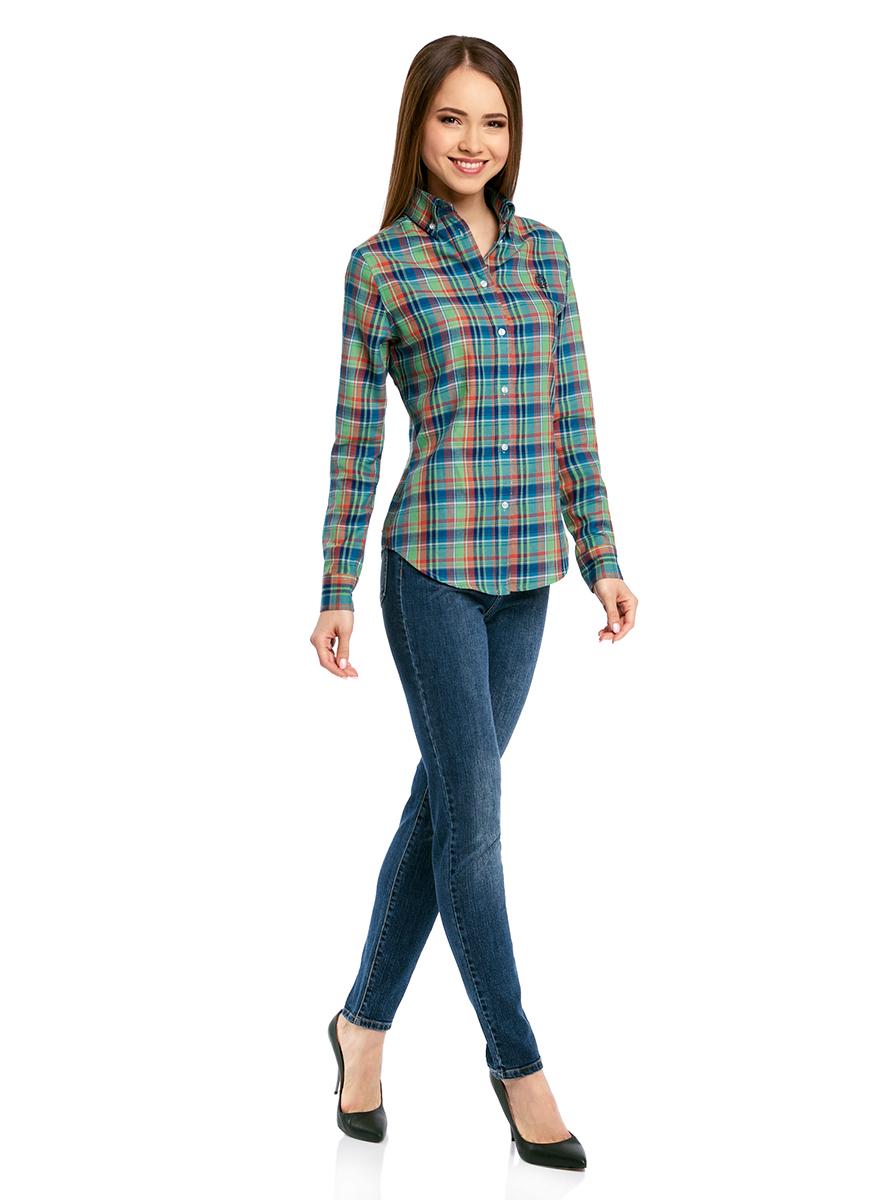 Рубашка11411148/46397/4773CРубашка женская oodji Ultra выполнена из высококачественного материала. Модель с отложным воротником и длинными рукавами застегивается на пуговицы. Рукава дополнены манжетами с пуговицами. Изделие оформлено вышивкой на груди.