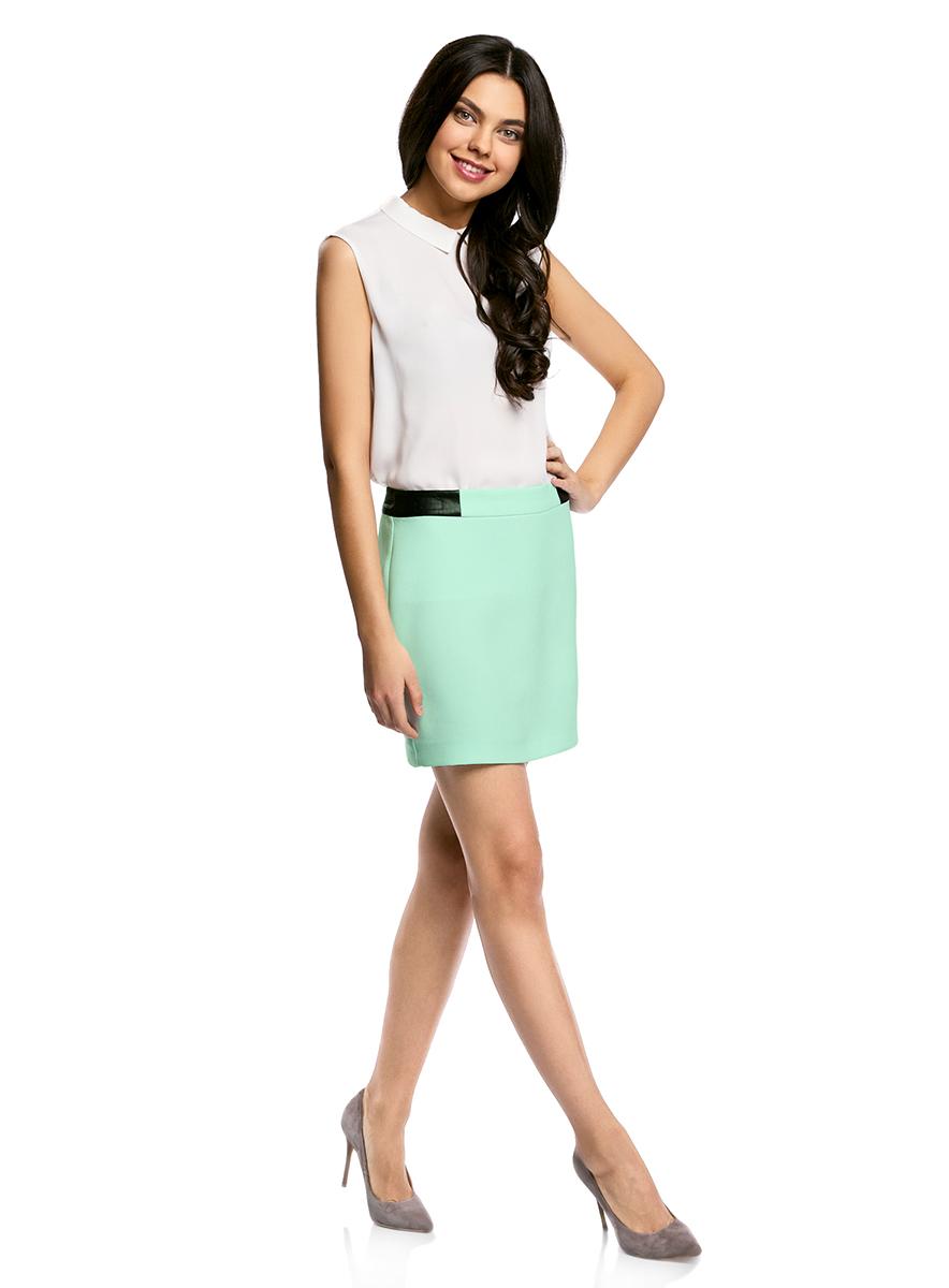 Юбка11601179-10/46415/2900NСтильная мини-юбка выполнена из высококачественного материала. На поясе модель дополнена вставками из искусственной кожи. Сзади юбка застегивается на металлическую застежку-молнию.
