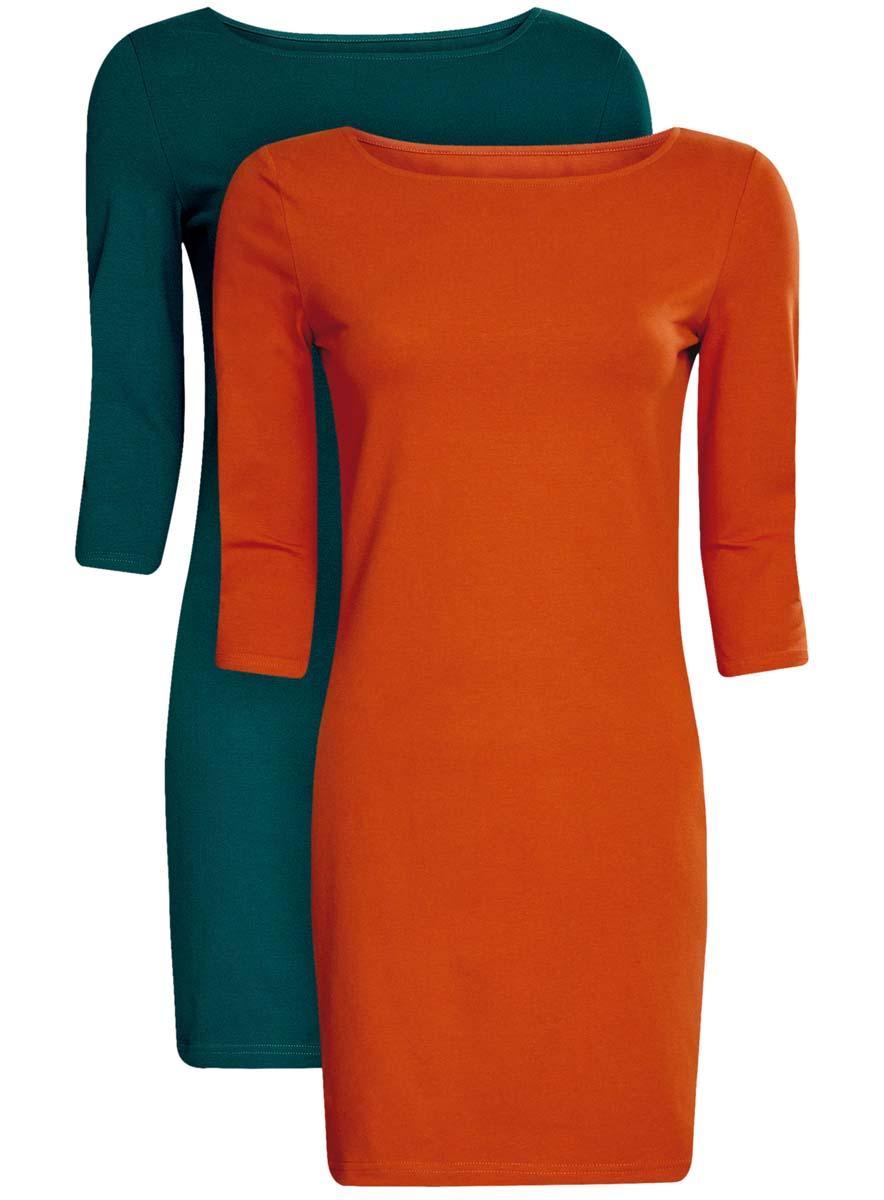 Платье oodji Ultra, цвет: темно-изумрудный, терракотовый, 2 шт. 14001071T2/46148/6E31N. Размер L (48)14001071T2/46148/6E31NКомплект из двух мини-платьев oodji Ultra изготовлен из хлопка с добавлением эластана. Обтягивающие платья с круглым вырезом и рукавами 3/4 выполнены в лаконичном дизайне. В комплекте два платья представлены в разных цветах.