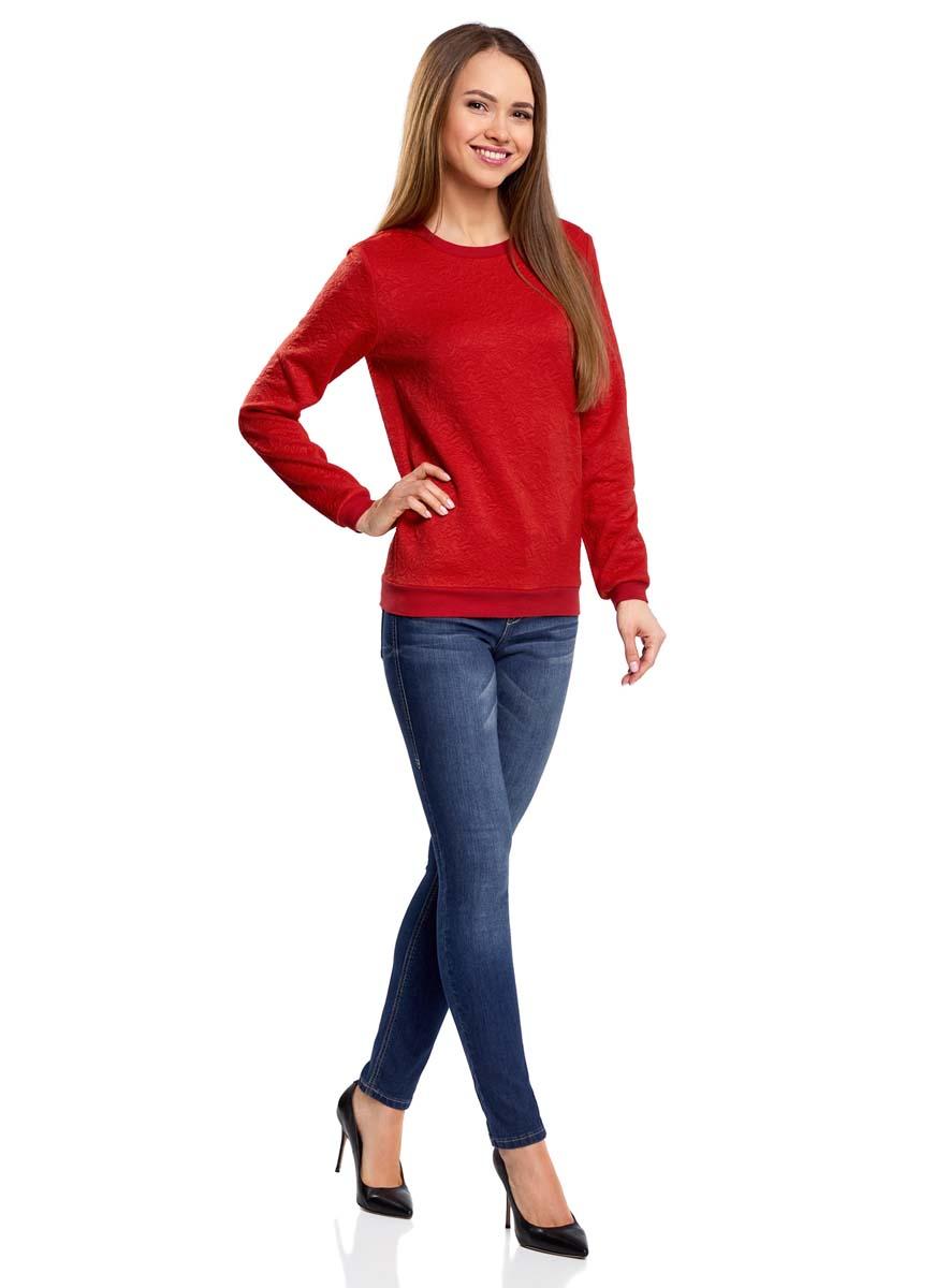 Свитшот женский oodji Ultra, цвет: красный. 14801037-3/46435/4500N. Размер L (48)14801037-3/46435/4500NСвитшот прямого силуэта с круглым вырезом горловины и длинными рукавами выполнен из фактурной ткани.