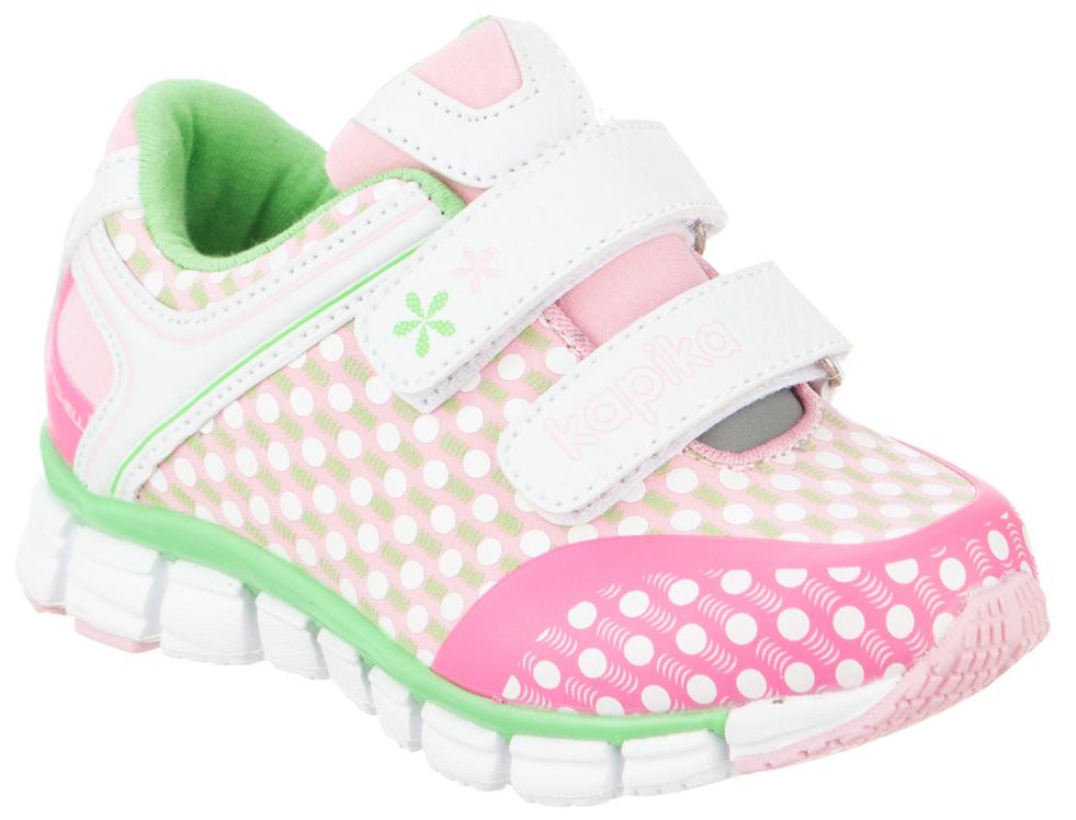 Кроссовки для девочки Kapika, цвет: розовый, салатовый, белый. 71081с-2. Размер 2271081с-2Удобные и стильные кроссовки для девочки Kapika прекрасно подойдут вашему ребенку для активного отдыха и повседневной носки. Верх модели выполнен из искусственной кожи и текстиля. Стелька изготовлена из натуральной кожи, благодаря чему обувь дышит, что обеспечивает идеальный микроклимат. Подкладка из хлопка обеспечивает дополнительный комфорт для детской ножки. Для удобства обувания и надежной фиксации стопы на подъеме имеются два ремешка на липучках. Рельефная подошва не скользит и обеспечивает хорошее сцепление с поверхностью. Кроссовки оформлены принтом и логотипом бренда. В них ногам вашего ребенка,будет комфортно и уютно!