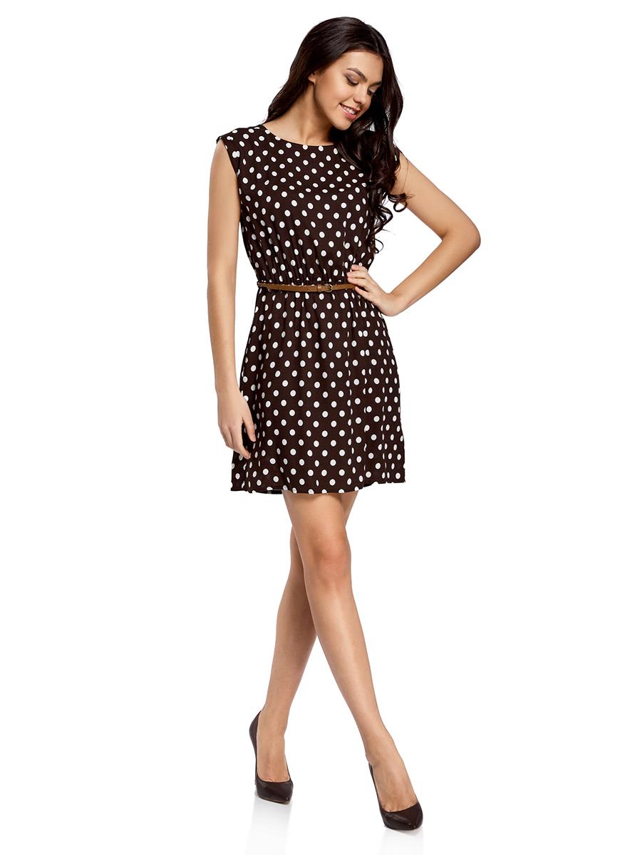 Платье oodji Ultra, цвет: темно-коричневый, белый. 11910073-2/45470/3912D. Размер 36-170 (42-170)11910073-2/45470/3912DПлатье oodji Ultra выполнено из легкой струящейся ткани и оформлено оригинальным принтом. Модель мини-длины с круглым вырезом горловины и короткими рукавами дополнена двумя прорезными карманами на юбке.В комплект с платьемвходит узкий ремень из искусственной кожи с металлической пряжкой.