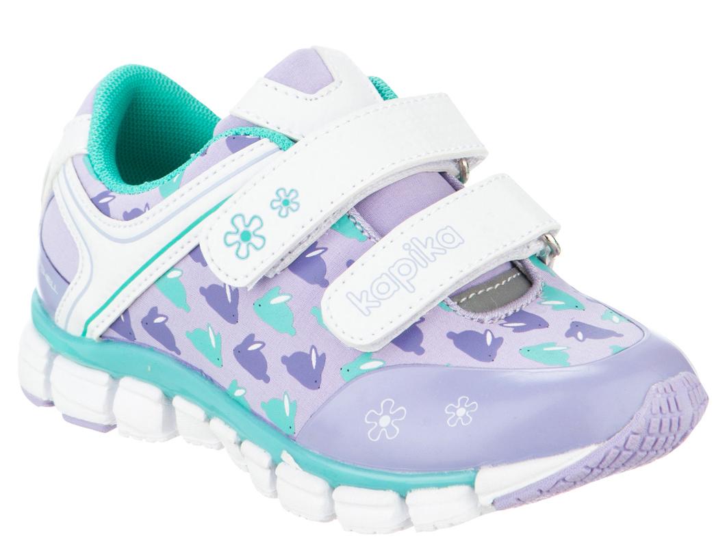 Кроссовки для девочки Kapika, цвет: сиреневый, белый. 71084с-2. Размер 2571084с-2Удобные и стильные кроссовки для девочки Kapika прекрасно подойдут вашему ребенку для активного отдыха и повседневной носки. Верх модели выполнен из искусственной кожи и текстиля. Стелька изготовлена из натуральной кожи, благодаря чему обувь дышит, что обеспечивает идеальный микроклимат. Подкладка из хлопка обеспечивает дополнительный комфорт для детской ножки. Для удобства обувания и надежной фиксации стопы на подъеме имеются два ремешка на липучках. Рельефная подошва не скользит и обеспечивает хорошее сцепление с поверхностью. Кроссовки оформлены принтом и логотипом бренда. В них ногам вашего ребенка,будет комфортно и уютно!