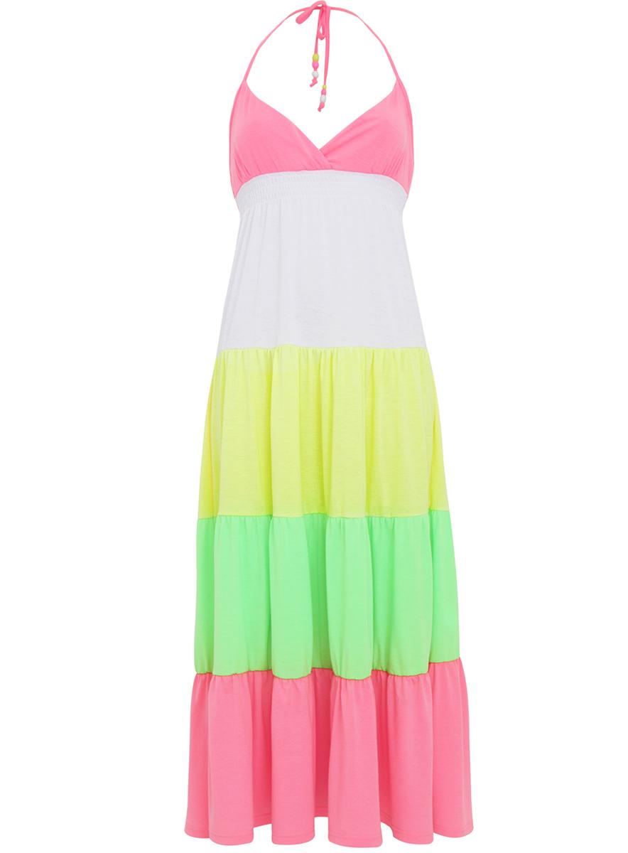 Платье14016018/26395/6A67BЯркий сарафан oodji Ultra выполнен из качественного материала с разноцветными элементами-воланами. Модель макси-длины на завязках под грудью дополнена резинкой.