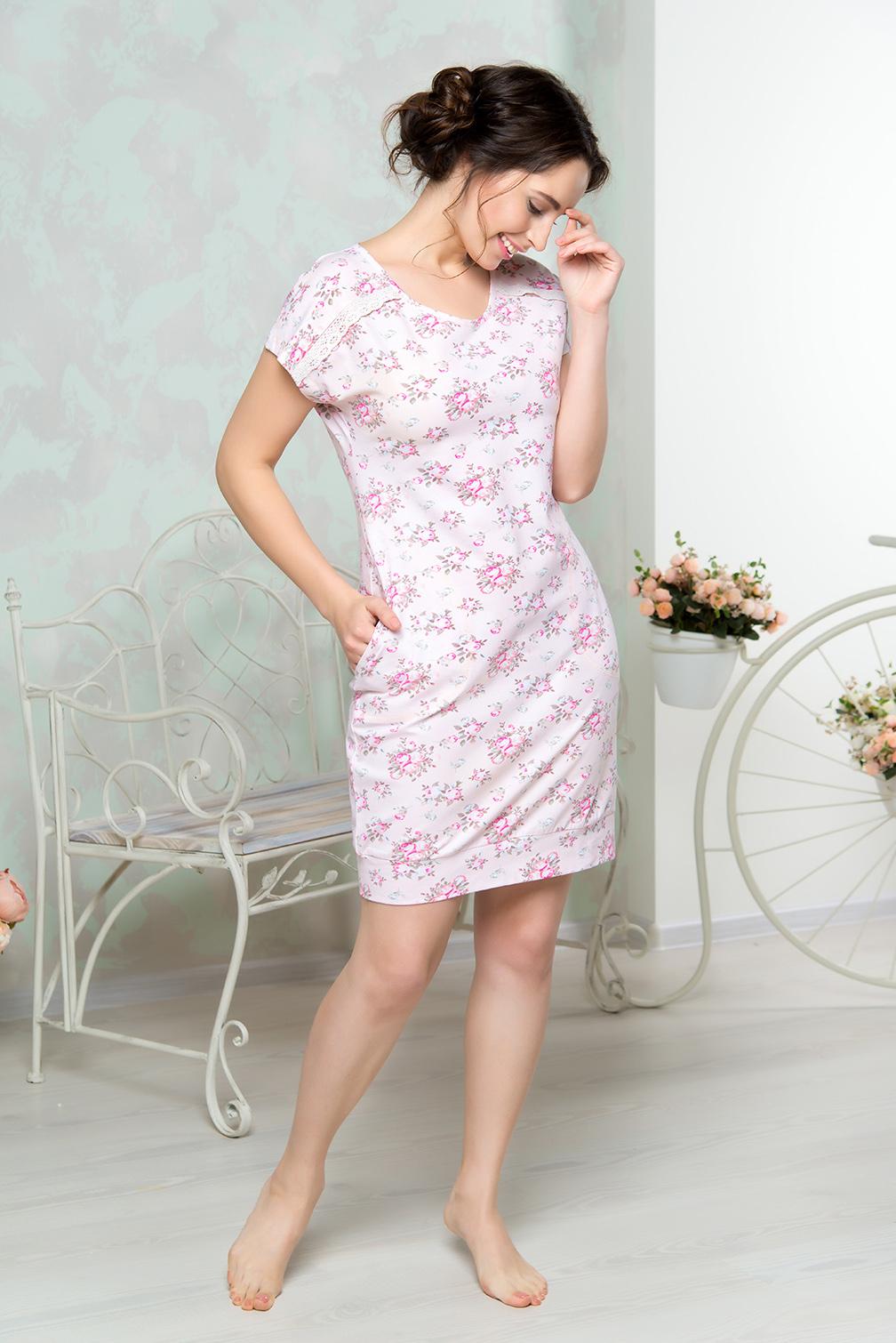 Платье домашнееAW16-MCUZ-849Платье домашнее Mia Cara изготовлено из высококачественного хлопка с добавлением эластана. Модель длины миди выполнена с короткими рукавами. По бокам изделие дополнено двумя карманами.