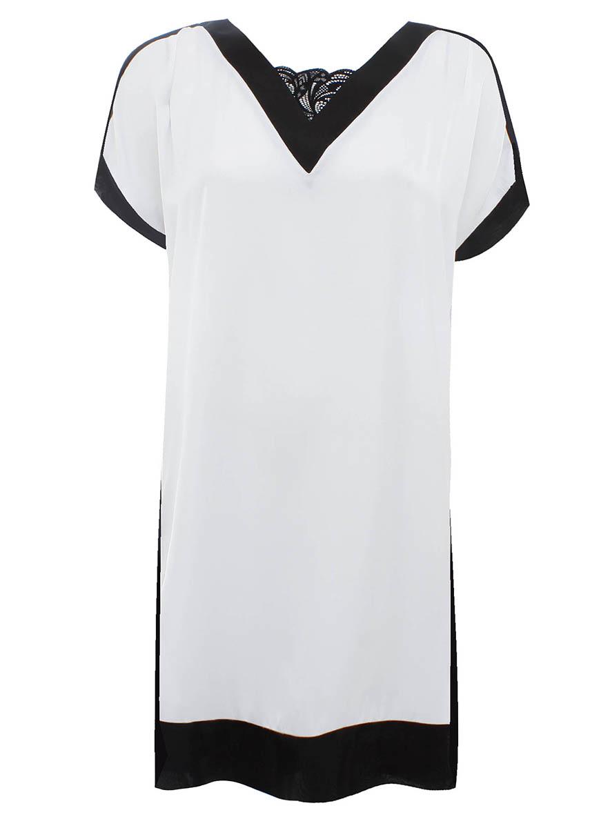 Платье21900114M/15014/1029BОригинальное платье прямого кроя oodji Collection выполнено из легкого качественного материала. Модель средней длины с короткими рукавами имеет V-образный вырез горловины, оформленный кружевной вставкой.
