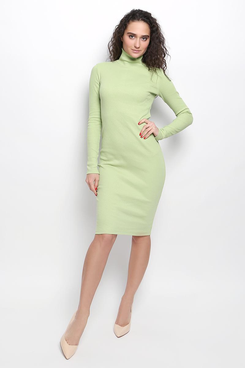 Платье Rocawear, цвет: светло-зеленый. R041643. Размер L (48)R041643Платье Rocawear выполнено из хлопка с добавлением лайкры. Модель средней длины с длинными рукавами имеет воротник-гольф. Платье великолепно тянется и превосходно садится по фигуре благодаря эластичной структуре.