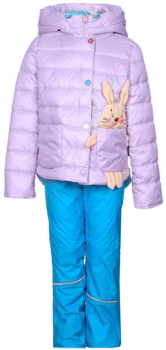 Комплект для девочки Boom!: куртка, брюки, цвет: сиреневый, голубой. 70022_BOG_вар.2. Размер 80, 1,5-2 года70022_BOG_вар.2Комплект для девочки Boom! включает в себя куртку и брюки. Куртка с длинными рукавами и несъемным капюшоном выполнена из прочного полиэстера и имеет подкладку из полиэстера с добавлением хлопка. Наполнитель - эко-синтепон (150 г/м2). Модель застегивается на застежку-молнию спереди и имеет ветрозащитный клапан на липучках. Изделие имеет два накладных кармана спереди, один из которых выполнен в виде зайчика с объемной мордочкой и лапками. Удлиненный капюшон украшен небольшим помпоном и дополнен шнурком-кулиской со стопперами.Теплые брюки выполнены из полиэстера и имеют подкладку из мягкого флисового материала. Объем талии регулируется при помощи внутренней резинки с пуговицами. Брюки дополнены двумя втачными карманами спереди.Комплект дополнен светоотражающими элементами.