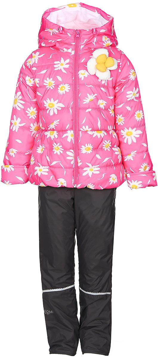 Комплект верхней одежды70021_BOG_вар.1Комплект для девочки Boom! включает в себя куртку и брюки. Куртка с длинными рукавами и несъемным капюшоном выполнена из прочного полиэстера и имеет подкладку из полиэстера с добавлением хлопка. Наполнитель - эко-синтепон (150 г/м2). Модель застегивается на застежку-молнию спереди, имеет два втачных кармана спереди. Куртка украшена крупным декоративным цветком на груди и оформлена ярким цветочным принтом. Теплые брюки выполнены из полиэстера и имеют подкладку из мягкого флисового материала. Объем талии регулируется при помощи внутренней резинки с пуговицами. Брюки дополнены двумя втачными карманами спереди. Комплект дополнен светоотражающими элементами.