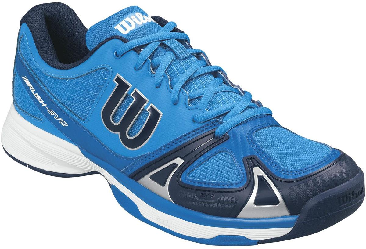 Кроссовки для тенниса мужские Wilson Rush Evo, цвет: голубой. WRS322240. Размер 11,5 (45,5)WRS322240Мужские кроссовки для тенниса Rush Evo от Wilson - это идеальный вариант для тех, кто ценит в обуви комфорт, поддержку и долговечность. Модель создана специально для любителей, которые хотят достичь заметных результатов в теннисе.Верх модели выполнен из искусственной кожи со вставками из дышащего текстиля и оформлен названием и логотипом бренда. Классическая шнуровка гарантирует удобство и надежно фиксирует модель на ноге. Технология 2D-F.S: полиуретановый штамп в носовой части обеспечивает повышенную устойчивость. Технология Dynamic Fit - DF2: высота средней части подошвы - 9 мм. Технология R-DST: вставка из химически активных веществ в пяточной части обеспечивает максимальную амортизацию. Съемная стелька EVA с внешней текстильной поверхностью обеспечивает комфорт. Резиновая рельефная подошва обеспечивает отличное сцепление с поверхностью.В таких кроссовках вашим ногам будет комфортно и уютно.